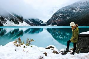 Fotos Park Kanada See Gebirge Winter Nebel Schnee Banff Alberta Natur