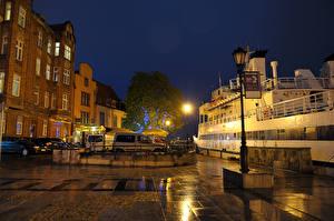 Images Poland Gdańsk Building Marinas Street Night time Street lights Cities