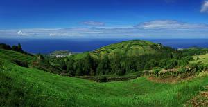 Fotos Portugal Landschaftsfotografie Küste Hügel Gras Sao Miguel Azores