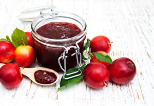 Wallpapers Fruit preserves Plums Jar Food