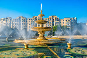 Fotos Rumänien Budapest Gebäude Springbrunnen Spritzwasser