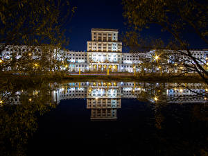 Pictures Russia Moscow Houses Night Reflection Branches Bauman Moscow State Technical University Cities