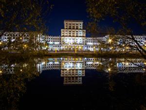 Hintergrundbilder Russland Moskau Haus Nacht Reflexion Ast Bauman Moscow State Technical University Städte