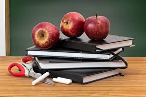Fotos Schule Äpfel Obst Buch Lebensmittel