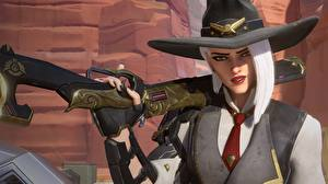 Wallpaper Shotgun Overwatch Hat Ashe Games 3D_Graphics Girls