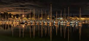 Bilder Spanien Flusse Bootssteg Segeln Yacht Nacht El Burgo Städte
