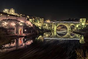 Bilder Spanien Toledo Festung Fluss Brücke Nacht