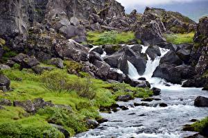 Image Stone Mountain Waterfalls Rock Creeks Nature