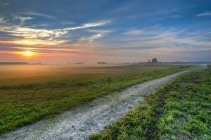 Pictures Sunrise and sunset Fields Roads Scenery Grass Fog HDRI Nature