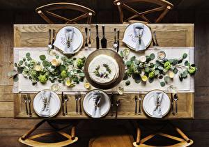 Fotos Tischtermine Kerzen Messer Tisch Stuhl Von oben Teller Gabel Weinglas