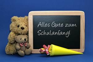 Wallpaper Teddy bear Two Sitting Blue German Alles Gute zum Schulanfang