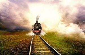 Hintergrundbilder Züge Eisenbahn Schienen Nebel Gras