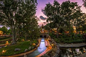 Hintergrundbilder Vereinigte Staaten Disneyland Parks Abend Kalifornien Anaheim Design HDR Bäume Kanal Natur