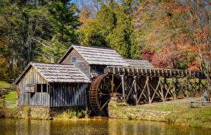 Bilder Vereinigte Staaten Wälder Herbst Wassermühle Mabry Mill