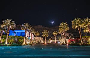 Bilder USA Gebäude Kalifornien Anaheim Straße Nacht Palmen Mond Städte