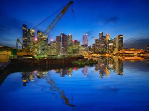 Bilder Vereinigte Staaten Gebäude Abend Bootssteg Chicago Stadt