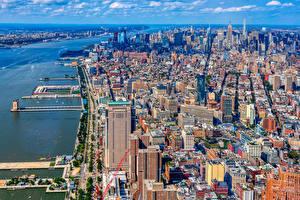 Sfondi desktop Stati uniti La casa Banchina New York Megalopoli Città