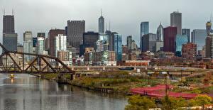 Bilder Vereinigte Staaten Gebäude Flusse Brücken Chicago Stadt Städte