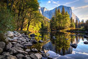 Photo USA Mountains Lake Stones Park Autumn California Yosemite Trees Nature