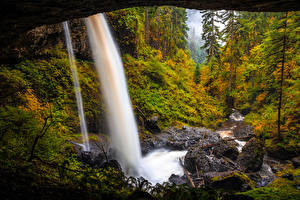 Hintergrundbilder Vereinigte Staaten Park Wälder Wasserfall Herbst Steine Silver Falls State Park Oregon
