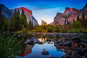 Bilder Vereinigte Staaten Park Gebirge See Steine Wälder Kalifornien Yosemite Felsen