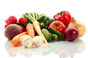 Pictures Vegetables Tomatoes Carrots Cucumbers Onion Radishes White background Food
