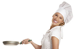 Wallpaper White background Cook Uniform Winter hat Staring Smile Frying pan young woman