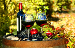 Fotos Wein Weintraube Granatapfel Flasche Weinglas 2