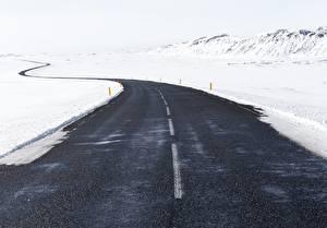 Bilder Winter Straße Schnee Asphalt Natur