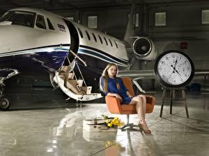 Wallpaper Airplane Clock Clock face Wing chair Sitting Aviation Girls