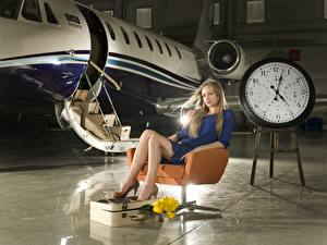 Photo Airplane Clock Clock face Wing chair Sitting female