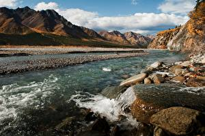 Hintergrundbilder Alaska Flusse Steine Gebirge Vereinigte Staaten Denali National Park Natur