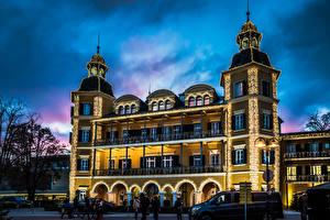 Hintergrundbilder Österreich Gebäude Abend Velden