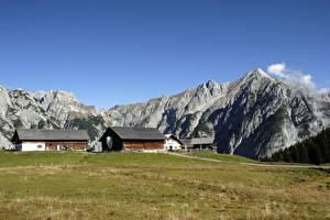 Fotos Österreich Gebäude Gebirge Gras Gnadenwald, Tyrol Natur