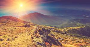 Hintergrundbilder Herbst Sonnenaufgänge und Sonnenuntergänge Gebirge Steine Landschaftsfotografie Sonne Natur