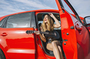 Photo Blonde girl Joy Guitar Hands Girls