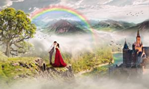 Wallpaper Castles Mountain Couples in love Man Rainbow Trees 2 Fantasy