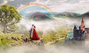 Bakgrundsbilder på skrivbordet Borg Berg Par i kärlek En man Regnbåge Träd Två 2 Fantasy