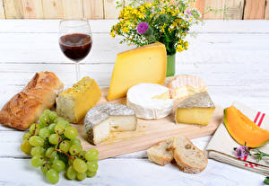 Wallpapers Cheese Wine Grapes Bread Still-life Bouquets Cutting board Stemware Food