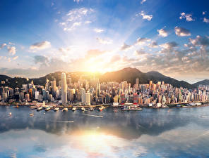 Pictures China Hong Kong Building Marinas Mountains Sea Rays of light Cities