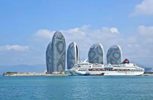 Bilder China Schiffe Kreuzfahrtschiff Insel Meer Hotel Hainan, Superstar Aquarius, Sanya Bay, Phoenix Island Städte