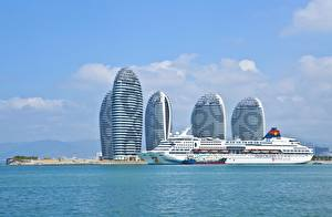 Wallpaper China Ships Cruise liner Island Sea Hotel Hainan, Superstar Aquarius, Sanya Bay, Phoenix Island Cities