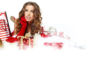 Images New year Brown haired Present Glove young woman