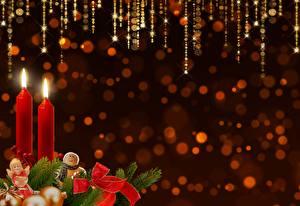 Bilder Neujahr Kerzen Ast Schleife Vorlage Grußkarte