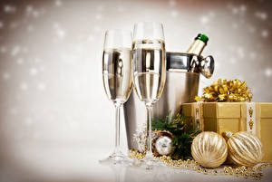 Images New year Champagne 2 Stemware Balls Gifts Food