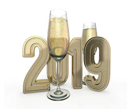 Picture New year Champagne White background 2019 Stemware 2 Food 3D_Graphics
