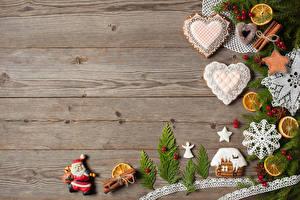 Fotos Neujahr Zimt Bretter Design Herz Weihnachtsmann Lebensmittel