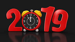 Hintergrundbilder Neujahr Uhr Wecker Schwarzer Hintergrund 2019 3D-Grafik