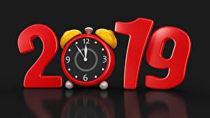 Pictures Christmas Clock Alarm clock Black background 2019 3D Graphics