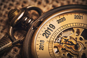 Pictures New year Clock Pocket watch Closeup 2019